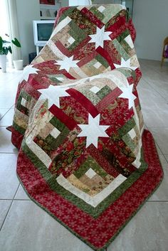 Hidden Stars quilt for Christmas by Anja's Quilts.  The pattern is from Jelly Roll Quilts by Pam and Nicky Lintott..