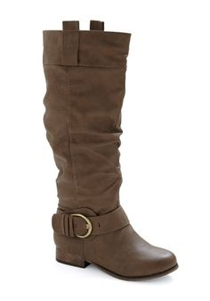 Created from vegan faux leather in a sturdy shade of medium brown, this boot spurs interest wherever you strut with its antiqued brass buckle detail at your ankle, classic calf-high silhouette, and versatile short heel. Crazy Shoes, Me Too Shoes, Short Heels, Vintage Boots, Cute Boots, Vegan Shoes, Brown Boots, Leather Boots, Riding Boots