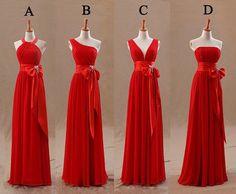 Long Red Bridesmaid Dresses | red bridesmaid dress long bridesmaid dress chiffon by fitdesign, $126 ...