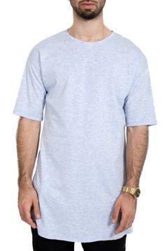 Men's Streetwear Extra Long Slit Tee in Sky Blue – Rag & Needle