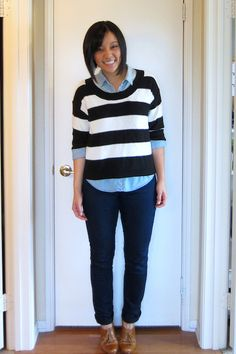 denim shirt Archives - Putting Me Together Jean Shirts, Denim Shirt, Jeans, Outfits With Striped Shirts, Putting Me Together, Black Skinny Pants, Navy Jacket, Navy Tops, Shirt Outfit