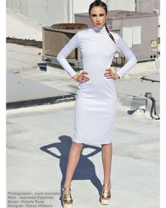 All white turtle neck bodycon dress