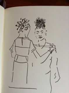 """Me with Amber Cuff of Tulip Clothing Line getting fitted for my Diner en Blanc dress (drawing by Diane Roka)  """"My style is really feminine and when I think of females and what they like, I do think flowers, even if it seems cliche. My favorite flower is a soft pink tulip, and when I looked it up, I found tulips actually symbolizes femininity""""...READ MORE Tinsel & Tine (Reel & Dine): Tulip Clothing Line and Diner en Blanc Philly"""