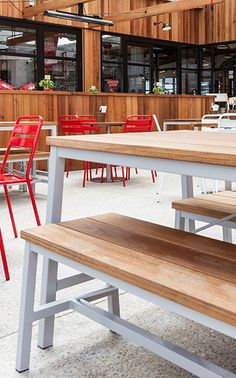 A outdoor furniture family built to last Roof Gardens, Commercial Furniture, Bench, Outdoor Furniture, Building, Table, Buildings, Tables, Desk