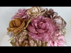 Розовая роза из бисера ,делаем себе сами - YouTube