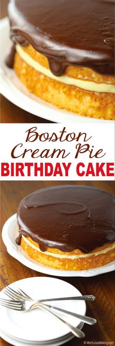 Boston Cream Pie Birthday Cake is a vanilla butter cake with a pastry cream filling and chocolate ganache topping. Find the recipe on MomLovesBaking. Sugar Cream Pie Recipe, Cream Pie Recipes, Boston Creme Cake Recipe, Boston Cream Pie Cupcakes, Butter Recipe, Just Desserts, Delicious Desserts, Dessert Recipes, Butter