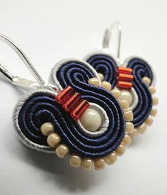 Navy Blue Earrings Small Drop Earrings Small Dangle Earrings Blue Drop Earrings Soutache Earrings Blue Dangle Earrings Navy Earrings Blue