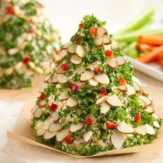 Recipe, grocery list, and nutrition info for Holiday Tree-Shaped Cheese Ball. An easy, eye-catching way to serve a holiday cheese ball. The best news? You can make it up to a month in advance! Christmas Party Food, Christmas Appetizers, Christmas Cooking, Christmas Goodies, Christmas Cheese, Christmas Nibbles, Christmas Kitchen, Cheese Ball Recipes, Appetizer Recipes