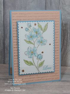 Forever Blossoms from Stampin Up. Created by UK Independent Demonstrator Teri Pocock. Handmade Birthday Cards, Greeting Cards Handmade, Paris Cards, Hand Stamped Cards, Stampinup, Stamping Up Cards, Card Sketches, Flower Cards, Anniversary Cards