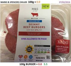 Syn free Slimming World skinny burgers from Marks and Spencers Slimming World Syn Values, Slimming World Tips, Slimming Word, Slimming World Dinners, Slimming World Recipes Syn Free, Slimming Eats, Syn Free Food, Fish And Meat, Food And Drink