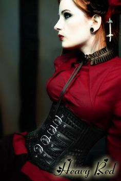 Gothic Corsets and waist training cinchers by Gothic Clothing designer Ondine for Heavy Red Couture Noir. Goth to punk Victorian to Edwardian Fetish Couture Gothic Fashion.