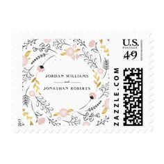 Hand Drawn Floral Border | Pink & Gold Wedding Postage - flowers floral flower design unique style