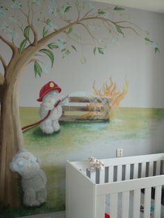 Muurschildering voor de babykamer of kinderkamer. De schattige Me to You beertjes. Ontwerp op maat gemaakt. Zie ook mijn Facebookpagina: https://www.facebook.com/esthersmuurschilderingen/