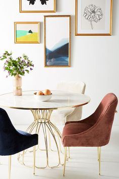 Velvet dining chairs with brass legs