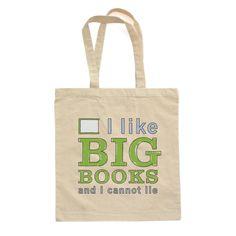 I Like Big Books and I Cannot Lie - BAG Tote - Blue/Green Design - Natural - 0319-8860-NAT-OS