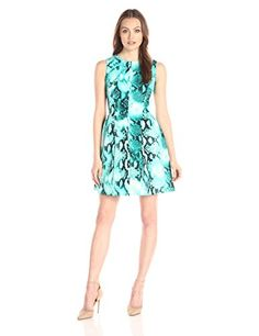 Calvin Klein Womens Fit and Flare Animal Printed Dress Lagoon Multi 10 -- Click image for more details. (This is an affiliate link and I receive a commission for the sales)