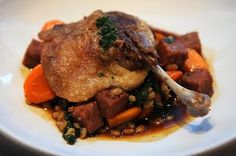 "RN74: Liberty farm duck ""cassoulet"". Barley, shiitake mushrooms, sweet carrots, spinach. Photo by No Salad As A Meal."