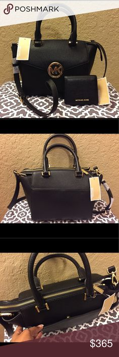 """Michael Kors Hudson Leather Satchel & Wallet Set Brand New with Tags! Gorgeous Michael Kors Hudson Black Leather Satchel w/ matching wallet set! No dust bag. Width at bottom is 9.75"""". Length is 5.5"""". Width of mouth (top of the bag) is 13"""". Height is 7.25"""". Interior depth is 7"""". Short handle drop is 5"""". Long handle drop is 17.75"""". Has a compartment in the front & another in the back of purse exterior. Has 5 compartments in the interior of the bag with one of them having a zipper.  There's a…"""