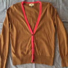Cardigan Brown and hot pink cardigan, never worn, super cute and material is nice so it's probably comfy too :-) Old Navy Jackets & Coats