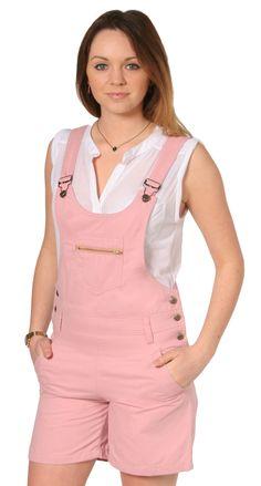 Bib Overalls Online US | Womens Pink Bib Overall Shorts | Ladies