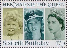 60th Birthday of Queen Elizabeth II 17p Stamp (1986) Queen Elizabeth II in 1928, 1942 and 1952