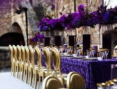 purple and silver centerpieces | Purple & Gold Table Decor by Damion Hamilton at The Detail Experience