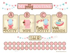 Go, Wipe, Flush and Wash Hands routines potty training chart. Download 40 potty training charts here.