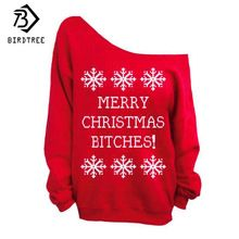 Off Shoulder Pullovers 2017 Women Sweatshirts Loose Fashion Autumn Letters Snowflake Christmas Print Women Clothes Tops C77063AW(China)