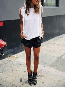 ärmelloses T-Shirt mit Franse - weiß