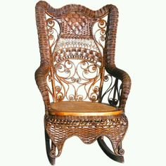 Victorian wicker rocking chair; love the combination with Oriental