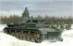 1941 Panzer IV Ausf F con pala quitanieves - Ron Volstad Panzer Iv, World Of Tanks, Military Art, Military History, Battle Of Moscow, M1 Abrams, Armoured Personnel Carrier, Model Tanks, Armored Fighting Vehicle