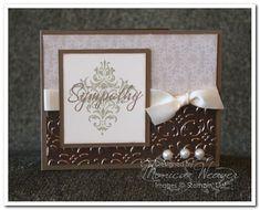 Beautiful Sympathy Card bronze, pearls, satin ribbon and embossing