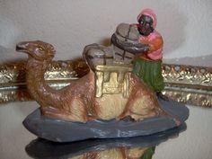 "4"" Vintage PUTZ Bedouin w Camel 4"" Christmas Nativity Composition Figurine 1940's !"