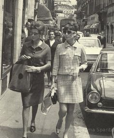 Audrey Hepburn photographed with Lorian Franchetti Gaetani while shopping in Rome, March 1968.