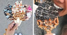 Waffle pops by Sweet Combforts are the latest in Coachella food trends. The toppings on each waffle on a stick are what make the Coachella waffles unique. Waffle Pops, Waffle Cake, Cake Trends, Food Trends, Coachella Food, Waffle Sticks, Tasty, Yummy Food, Savoury Cake