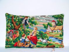 French Vintage Needlepoint Tapestry Pastoral by Retrocollects £40 https://www.etsy.com/shop/Retrocollects