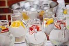Trim Your Bar Tab Don't forget to have some inexpensive (nonalcoholic) drinks on hand. Consider fresh lemonade in tall, sugar-rimmed glasses for a warm-weather wedding or sparkling water with colorful wedges of orange, lemon or lime. Beach Wedding Reception, Reception Food, Budget Wedding, Our Wedding, Wedding Planning, Dream Wedding, Wedding Decor, Wedding Blog, Wedding Stuff
