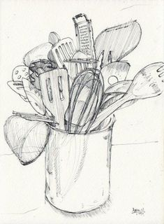 Scetchbook Ideas Kitchen Utensils Drawing Illustration Silk Sheets - Should We Drawing Sketches, Pencil Drawings, Art Drawings, Drawing Ideas, Sketching, Food Drawing, Painting & Drawing, Kitchen Drawing, Observational Drawing