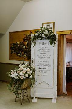 Giant, scripty wedding reception menu | Image by Eleanor Dobbins Photography