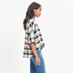 Courier Drape-Front Shirt in Check : plaid shirts | Madewell