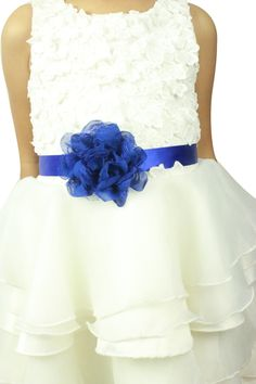 Lemandy ceinture d'enfant 200*2.5cm satin fleur cristal (Blanc): Amazon.fr: Vêtements et accessoires