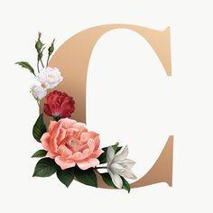 Floral Letters, Monogram Letters, Floral Font, Aesthetic Letters, Monogram Wallpaper, Alphabet, Paper Flowers Craft, Flower Backgrounds, Free Illustrations