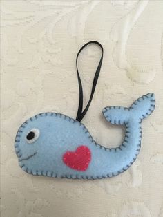 Felt crafts, felt ornament, whale, made by Janis