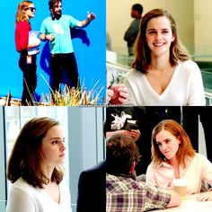 Emma Watson behind the scenes of 'The Circle' with Tom Hanks and Patton Oswalt
