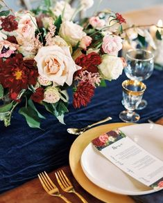 Gold, burgundy, and navy are a match made in heaven | photo @amynicolephoto planning and coordination @alanafutcher + @chanceycharm floral design @photosynthesisflorals venue @earlymountain hair and makeup @annabreeding calligraphy @jodimaccalligraphy stationery @farmsteaddesignstudio dress @thebrideroom wedding dress @moniquelhuillier emerald ring @trumpetandhorn bride's jewelry @kendrascott cake @commonwealthcakeco vintage rentals @paisleyandjade . . . . . #tablescape #placesettings…
