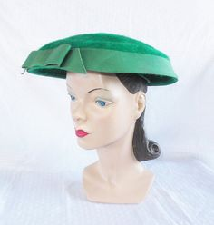 1950's Vintage Green New Look Wide Brim Hat by MyVintageHatShop, $66.00