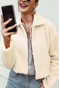 coat warm Casual long sleeve autumn winter women short jackets Loose warm outwear ladies furry coats - #coatsforwomen #coatsforwomenwinter #coatsforwomencasual #coatsforwomenclassy #coatsforwomenclassyelegant #coatsjackets #coatsjacketswomen #coatsforwomen2020 #coatsforwomen2020fashiontrends #streettide Coats For Women, Sleeve Styles, Black And Brown, Fall Winter, Lady, Long Sleeve, Casual, Sleeves, Jackets