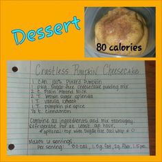 Crustless Pumpkin Cheesecake Recipe Low fat, low calorie and healthy dessert