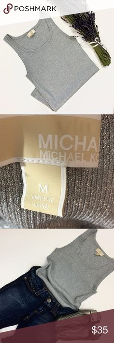 {Michael Kors} ribbed knit tank with scooped neck Michaels Kors heavy ribbed gray & silver scoop neck tank top. Size M. Michael Kors Tops Tank Tops