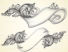 Scroll Banner And Curled Scroll Banners Royalty Free Stock Vector Art Illustration Tattoo Drawings, Art Drawings, Drawing Sketches, Tattoo Painting, Molduras Vintage, Schrift Tattoos, Banners, Geniale Tattoos, Motif Floral